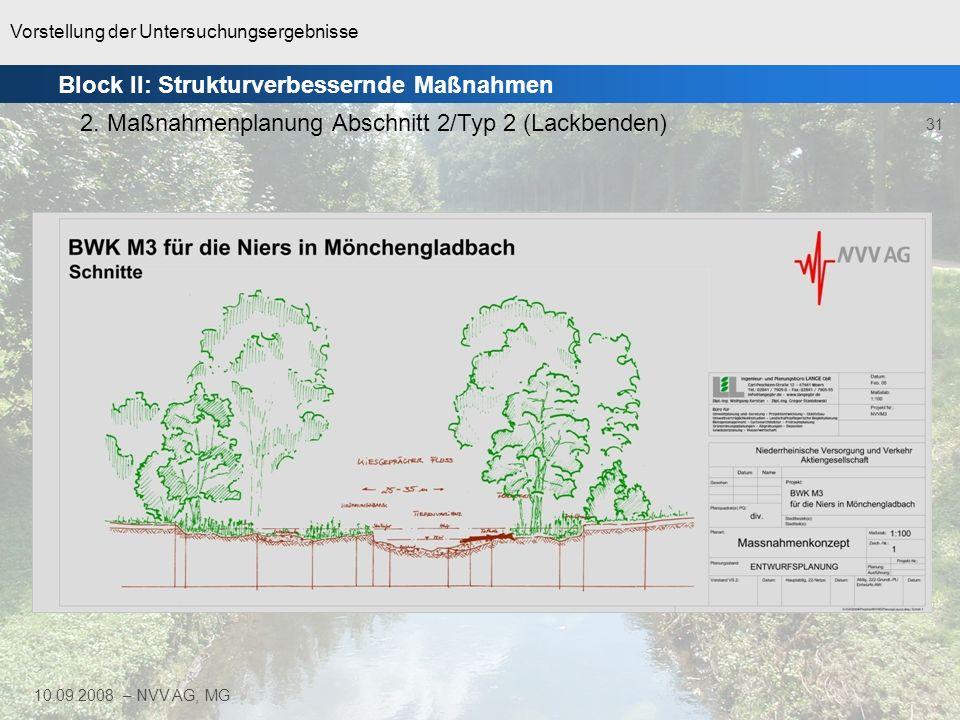 Vorstellung der Untersuchungsergebnisse 31 10.09.2008 – NVV AG, MG Block II: Strukturverbessernde Maßnahmen 2. Maßnahmenplanung Abschnitt 2/Typ 2 (Lac