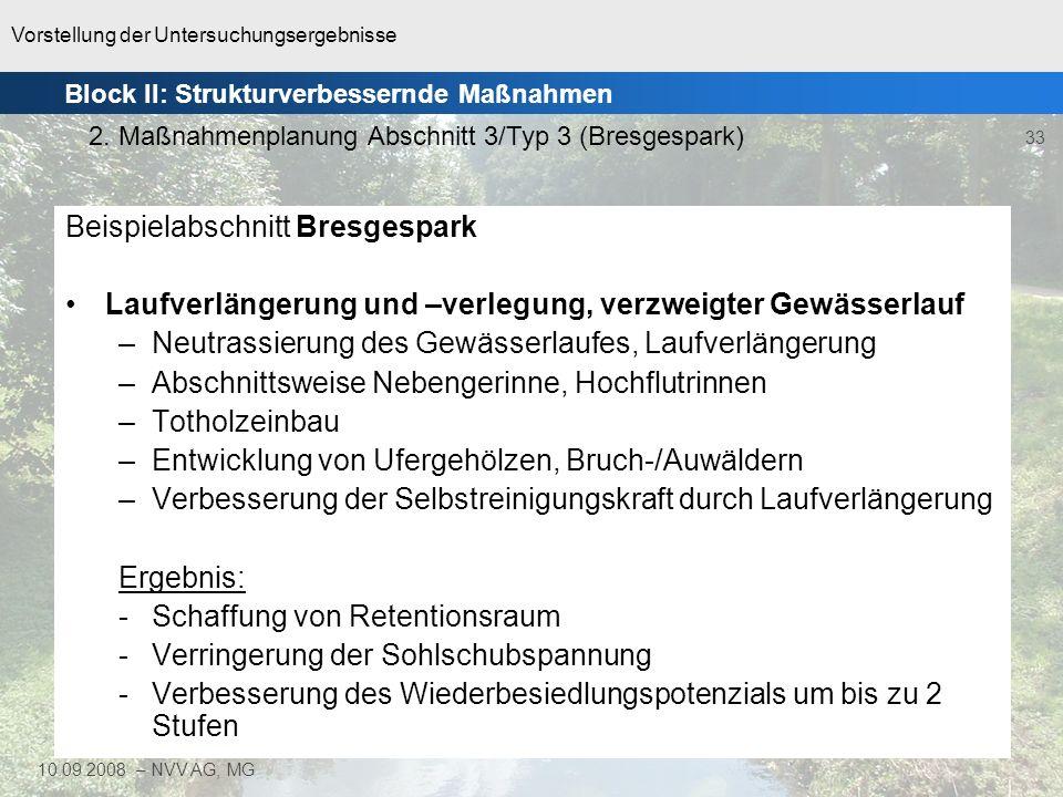 Vorstellung der Untersuchungsergebnisse 33 10.09.2008 – NVV AG, MG Beispielabschnitt Bresgespark Laufverlängerung und –verlegung, verzweigter Gewässer