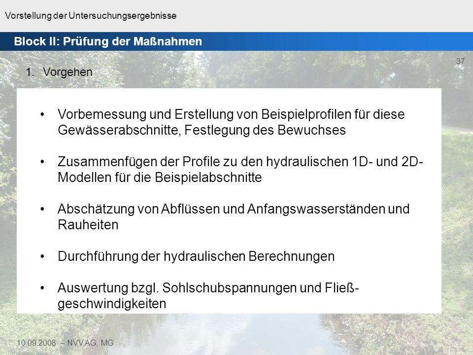 Vorstellung der Untersuchungsergebnisse 38 10.09.2008 – NVV AG, MG 1D-Modell Berechnung der Sohlschub- spannung pro Profilabschnitt 2D-Modell Berechnung der Sohlschubspan- nung pro Gitterpunkt des DGM Block II: Prüfung der Maßnahmen