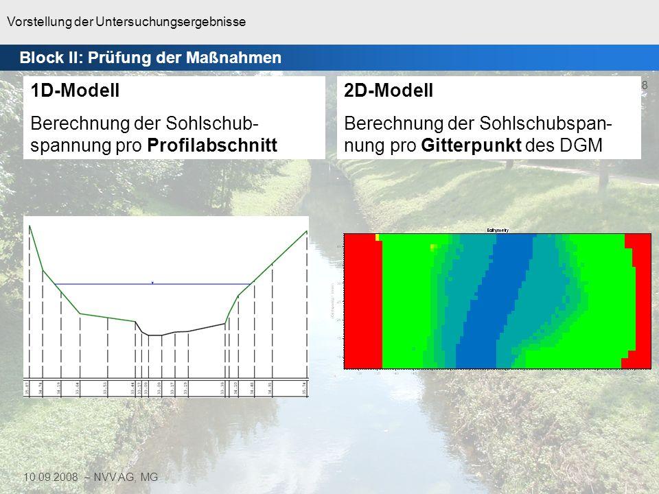 Vorstellung der Untersuchungsergebnisse 38 10.09.2008 – NVV AG, MG 1D-Modell Berechnung der Sohlschub- spannung pro Profilabschnitt 2D-Modell Berechnu