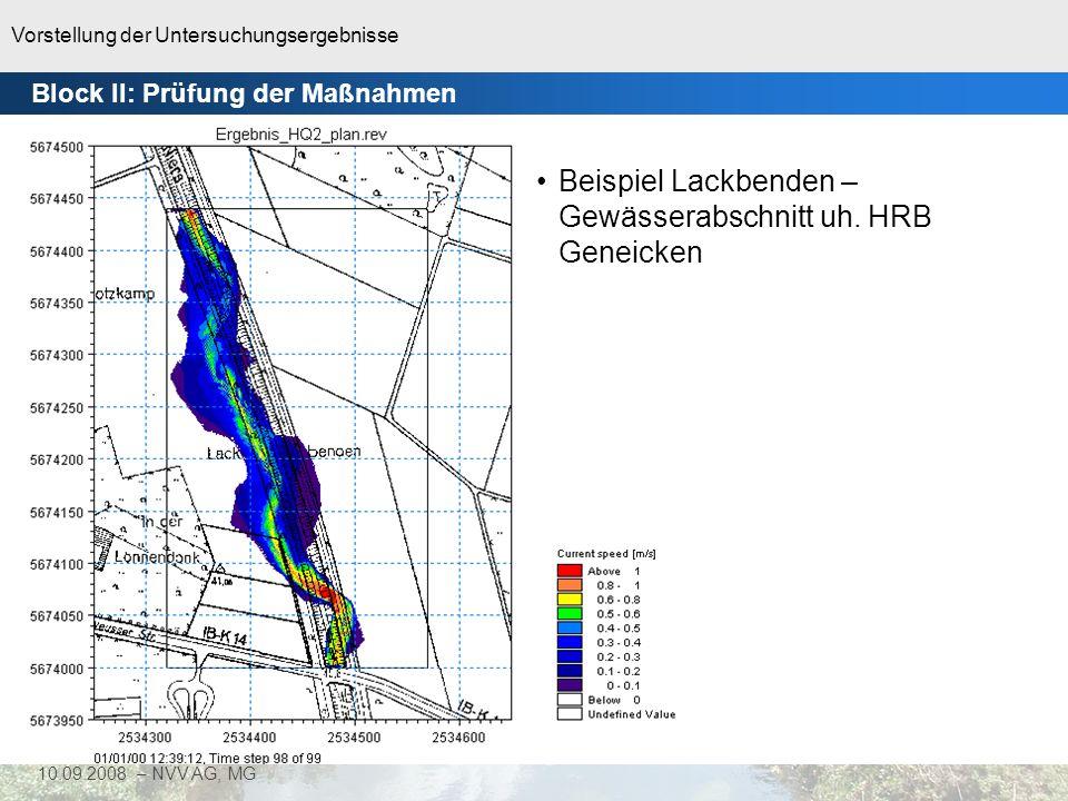 Vorstellung der Untersuchungsergebnisse 41 10.09.2008 – NVV AG, MG 2D-Modell: 94% < τ krit HQ 2 (Q = 9,67 m³/s) 1D-Modell Niers - Bereich Grunewaldstraße Block II: Prüfung der Maßnahmen