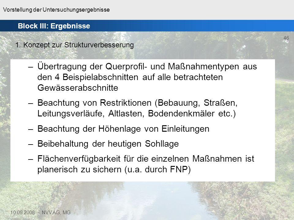 Vorstellung der Untersuchungsergebnisse 46 10.09.2008 – NVV AG, MG –Übertragung der Querprofil- und Maßnahmentypen aus den 4 Beispielabschnitten auf a