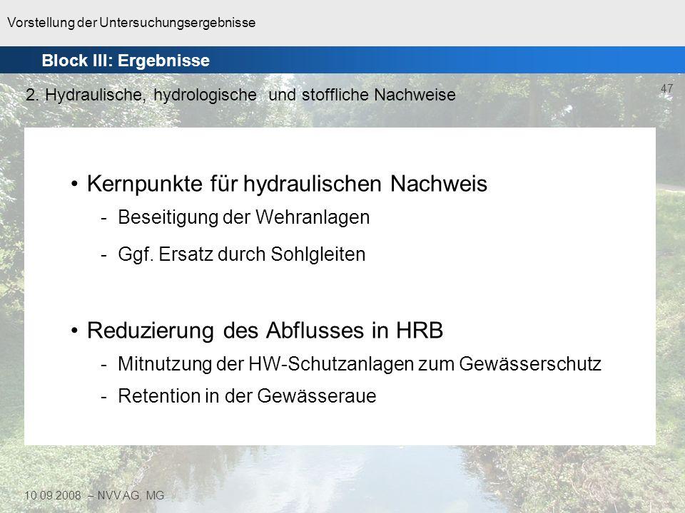 Vorstellung der Untersuchungsergebnisse 47 10.09.2008 – NVV AG, MG Kernpunkte für hydraulischen Nachweis -Beseitigung der Wehranlagen -Ggf. Ersatz dur