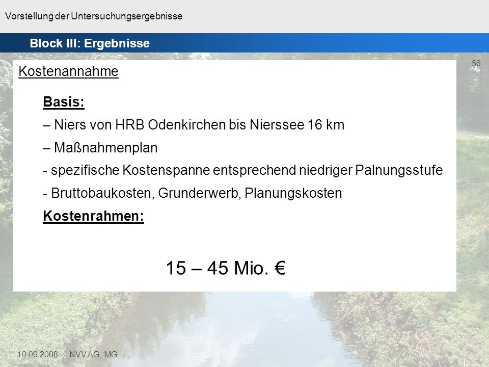 Vorstellung der Untersuchungsergebnisse 56 10.09.2008 – NVV AG, MG Block III: Ergebnisse Kostenannahme Basis: – Niers von HRB Odenkirchen bis Nierssee