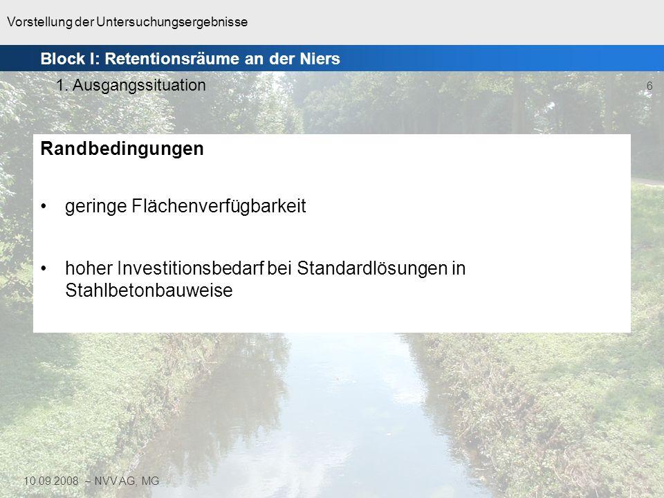 Vorstellung der Untersuchungsergebnisse 7 10.09.2008 – NVV AG, MG Städtisch geprägtes EZG Strukturgüte überwiegend stark bis vollständig verändert –zu 94% Klassen 5 bis 7 Gewässergütesituation Obere Niers: –Biol.