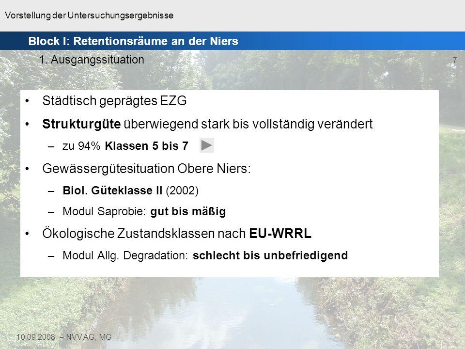 Vorstellung der Untersuchungsergebnisse 7 10.09.2008 – NVV AG, MG Städtisch geprägtes EZG Strukturgüte überwiegend stark bis vollständig verändert –zu