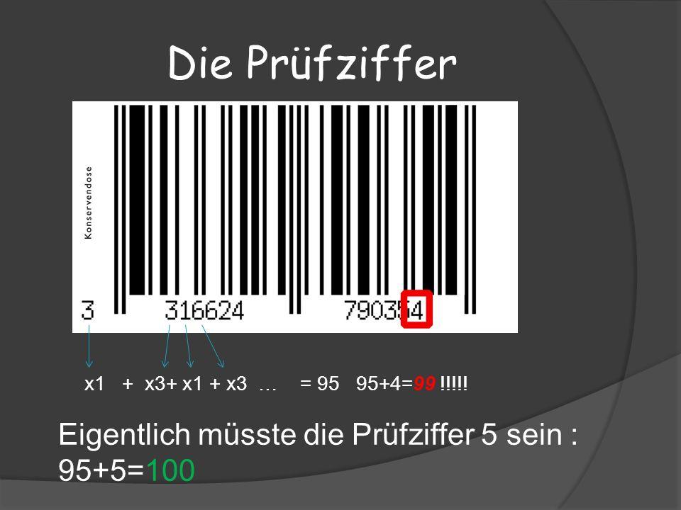 Die Prüfziffer x1 + x3+ x1 + x3 … = 95 95+4=99 !!!!.