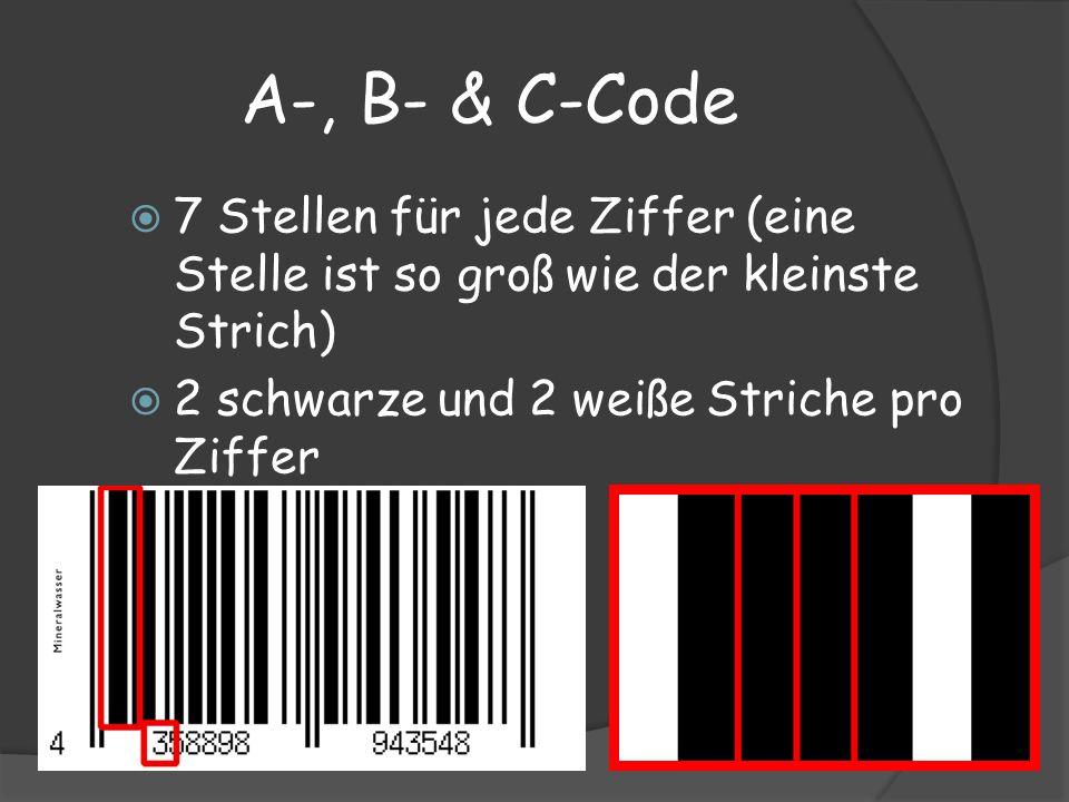 A-, B- & C-Code 7 Stellen für jede Ziffer (eine Stelle ist so groß wie der kleinste Strich) 2 schwarze und 2 weiße Striche pro Ziffer