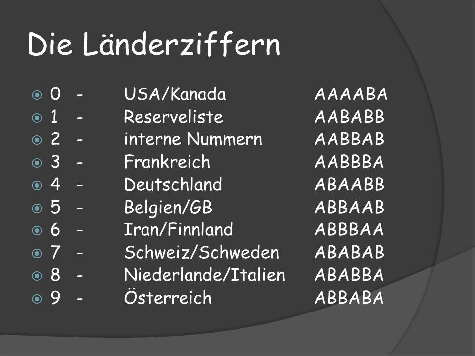 Die Länderziffern 0-USA/KanadaAAAABA 1-ReservelisteAABABB 2-interne NummernAABBAB 3-FrankreichAABBBA 4-DeutschlandABAABB 5-Belgien/GBABBAAB 6-Iran/FinnlandABBBAA 7-Schweiz/SchwedenABABAB 8-Niederlande/ItalienABABBA 9-ÖsterreichABBABA