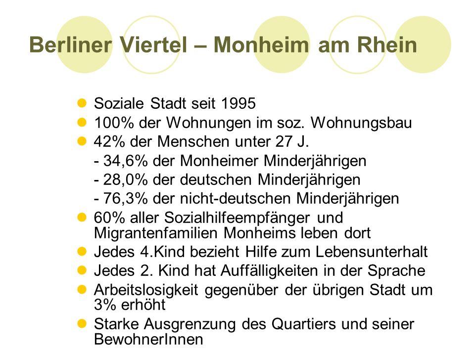 Berliner Viertel – Monheim am Rhein Soziale Stadt seit 1995 100% der Wohnungen im soz. Wohnungsbau 42% der Menschen unter 27 J. - 34,6% der Monheimer