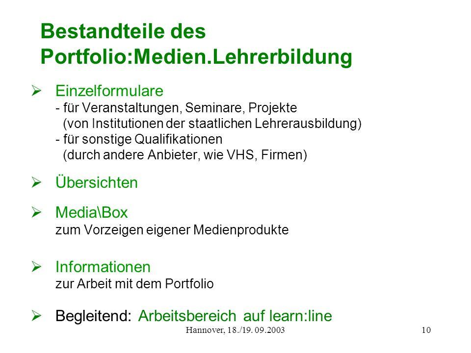 Hannover, 18./19. 09.200310 Bestandteile des Portfolio:Medien.Lehrerbildung Einzelformulare - für Veranstaltungen, Seminare, Projekte (von Institution