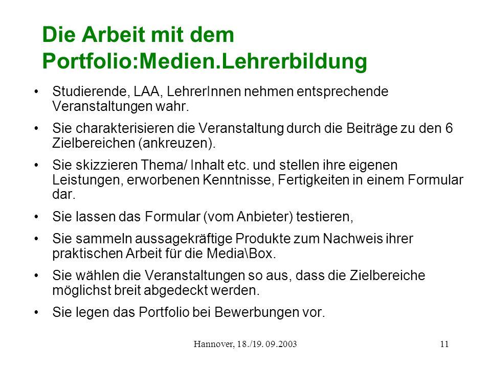 Hannover, 18./19. 09.200311 Die Arbeit mit dem Portfolio:Medien.Lehrerbildung Studierende, LAA, LehrerInnen nehmen entsprechende Veranstaltungen wahr.