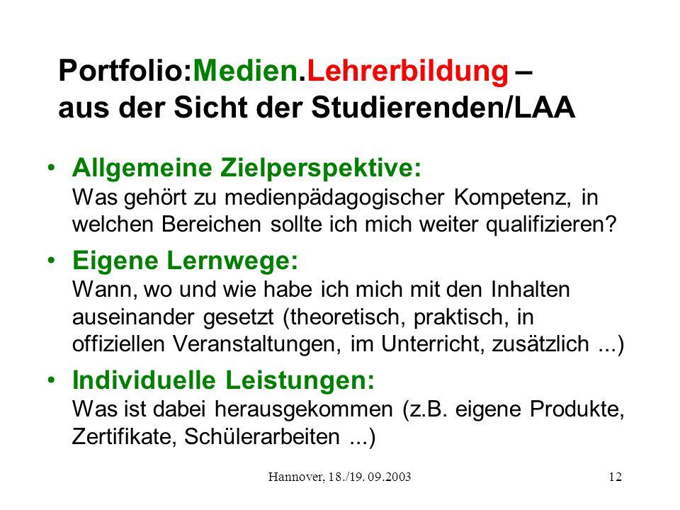 Hannover, 18./19. 09.200312 Portfolio:Medien.Lehrerbildung – aus der Sicht der Studierenden/LAA Allgemeine Zielperspektive: Was gehört zu medienpädago