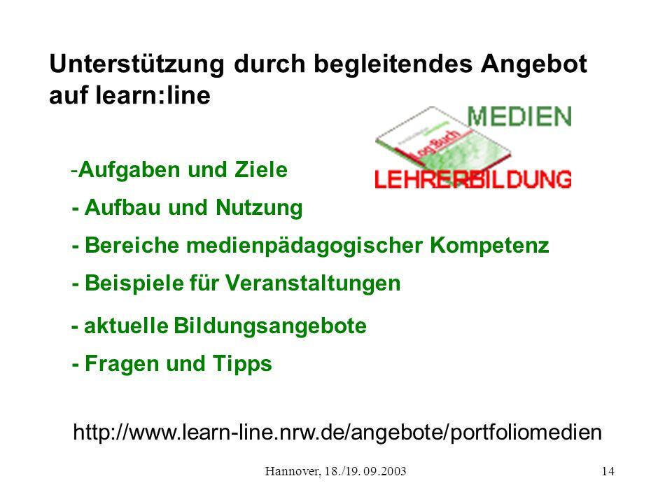 Hannover, 18./19. 09.200314 Unterstützung durch begleitendes Angebot auf learn:line -Aufgaben und Ziele - Aufbau und Nutzung - Bereiche medienpädagogi