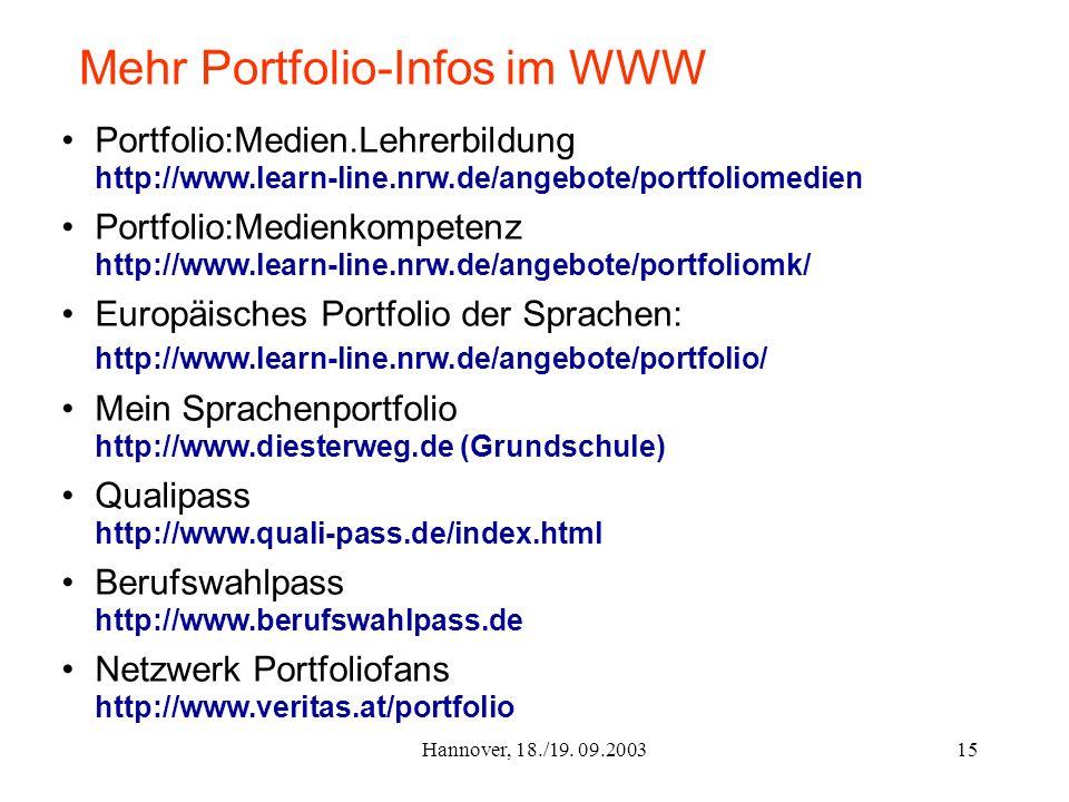 Hannover, 18./19. 09.200315 Mehr Portfolio-Infos im WWW Portfolio:Medien.Lehrerbildung http://www.learn-line.nrw.de/angebote/portfoliomedien Portfolio