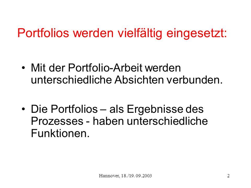 Hannover, 18./19. 09.20032 Portfolios werden vielfältig eingesetzt: Mit der Portfolio-Arbeit werden unterschiedliche Absichten verbunden. Die Portfoli