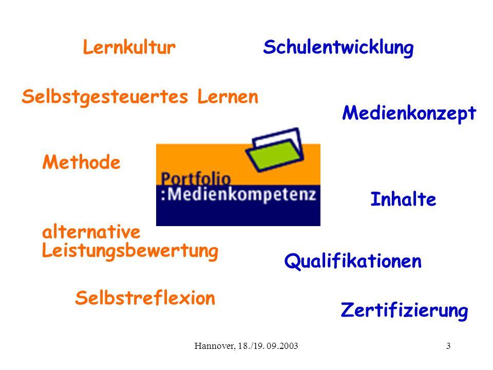 Hannover, 18./19. 09.20033 Methode Qualifikationen Lernkultur Medienkonzept alternative Leistungsbewertung Inhalte Schulentwicklung Zertifizierung Sel