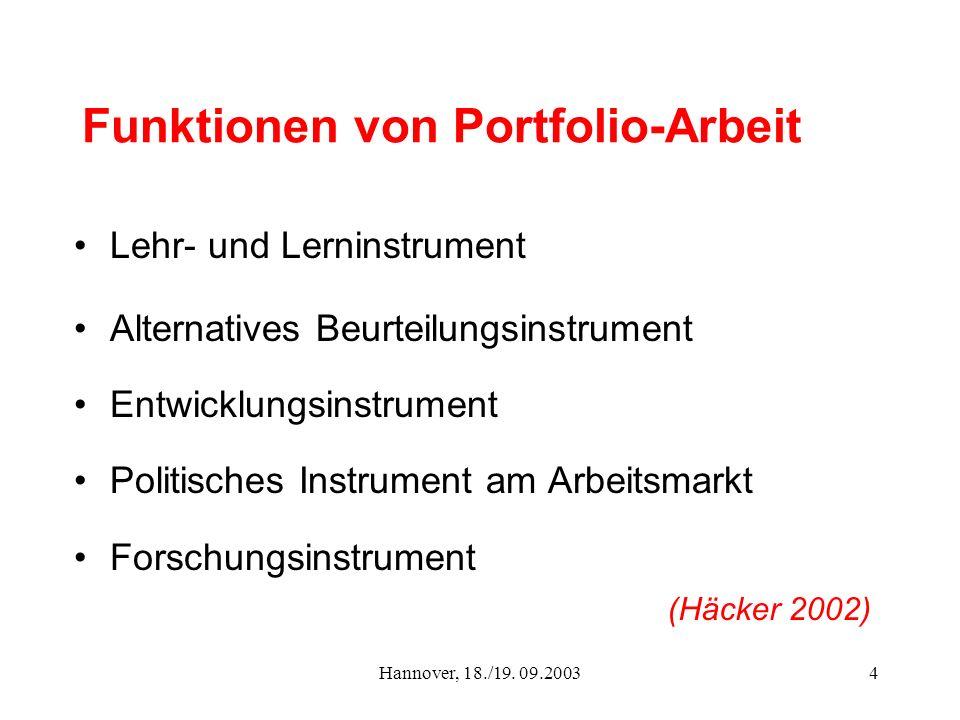 Hannover, 18./19. 09.20034 Funktionen von Portfolio-Arbeit Lehr- und Lerninstrument Alternatives Beurteilungsinstrument Entwicklungsinstrument Politis