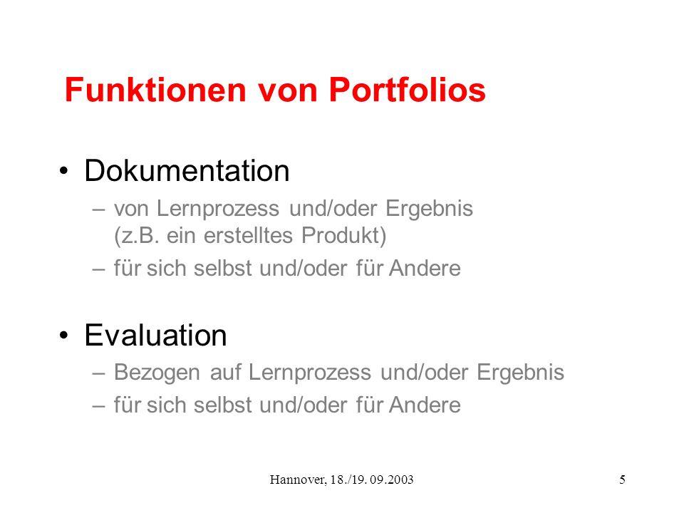 Hannover, 18./19. 09.20035 Funktionen von Portfolios Dokumentation –von Lernprozess und/oder Ergebnis (z.B. ein erstelltes Produkt) –für sich selbst u