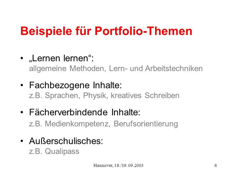 Hannover, 18./19. 09.20036 Beispiele für Portfolio-Themen Lernen lernen: allgemeine Methoden, Lern- und Arbeitstechniken Fachbezogene Inhalte: z.B. Sp