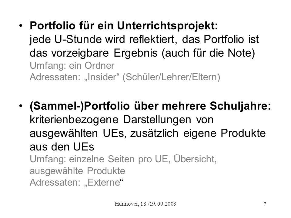 Hannover, 18./19. 09.20037 Portfolio für ein Unterrichtsprojekt: jede U-Stunde wird reflektiert, das Portfolio ist das vorzeigbare Ergebnis (auch für
