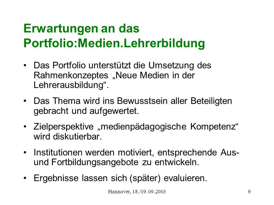 Hannover, 18./19. 09.20039 Erwartungen an das Portfolio:Medien.Lehrerbildung Das Portfolio unterstützt die Umsetzung des Rahmenkonzeptes Neue Medien i