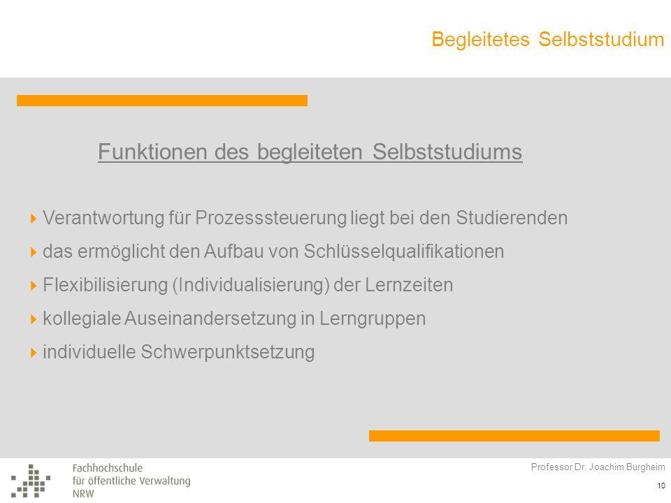 Begleitetes Selbststudium Professor Dr. Joachim Burgheim 10 Funktionen des begleiteten Selbststudiums Verantwortung für Prozesssteuerung liegt bei den