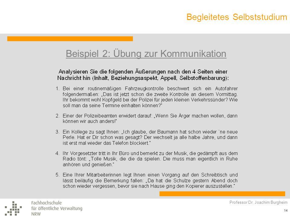 Begleitetes Selbststudium Professor Dr. Joachim Burgheim 14 Beispiel 2: Übung zur Kommunikation