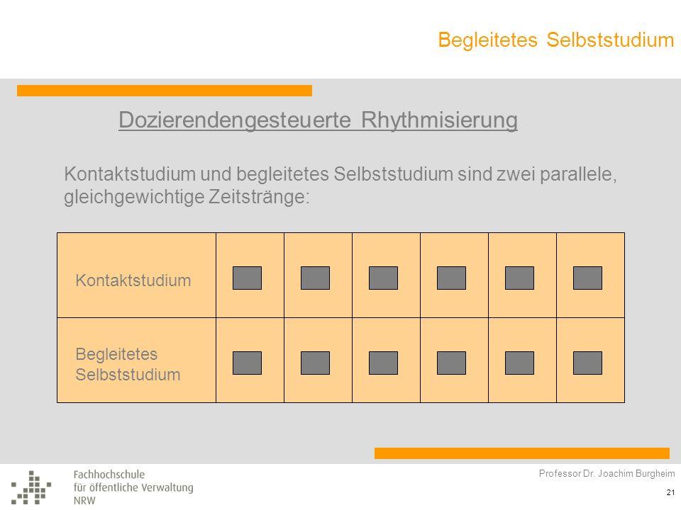 Begleitetes Selbststudium Professor Dr. Joachim Burgheim 21 Dozierendengesteuerte Rhythmisierung Kontaktstudium und begleitetes Selbststudium sind zwe
