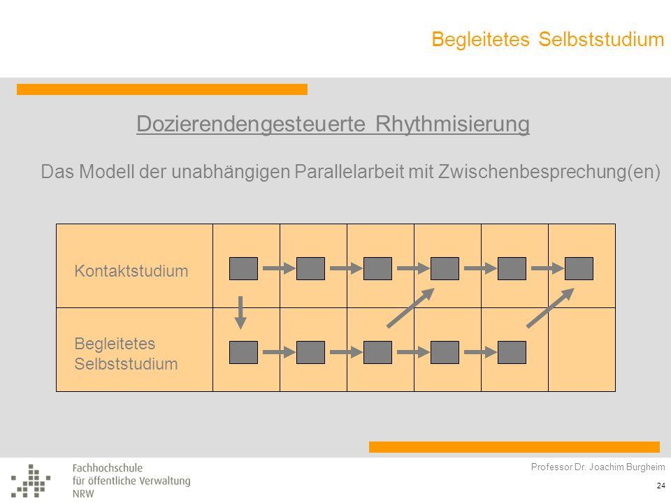 Begleitetes Selbststudium Professor Dr. Joachim Burgheim 24 Dozierendengesteuerte Rhythmisierung Kontaktstudium Begleitetes Selbststudium Das Modell d
