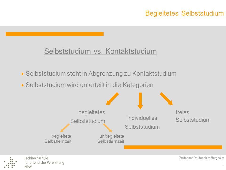 Begleitetes Selbststudium Professor Dr. Joachim Burgheim 3 Selbststudium vs. Kontaktstudium Selbststudium steht in Abgrenzung zu Kontaktstudium Selbst