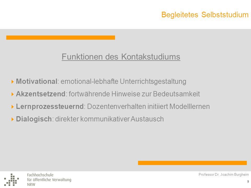 Begleitetes Selbststudium Professor Dr. Joachim Burgheim 9 Funktionen des Kontakstudiums Motivational: emotional-lebhafte Unterrichtsgestaltung Akzent