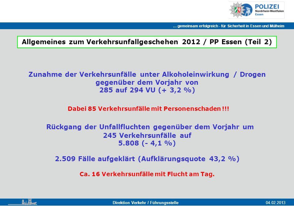 … gemeinsam erfolgreich - für Sicherheit in Essen und Mülheim Essen, 11.11.2011 Direktion Verkehr / Führungsstelle04.02.2013 Zunahme der Verkehrsunfälle unter Alkoholeinwirkung / Drogen gegenüber dem Vorjahr von 285 auf 294 VU (+ 3,2 %) Dabei 85 Verkehrsunfälle mit Personenschaden !!.