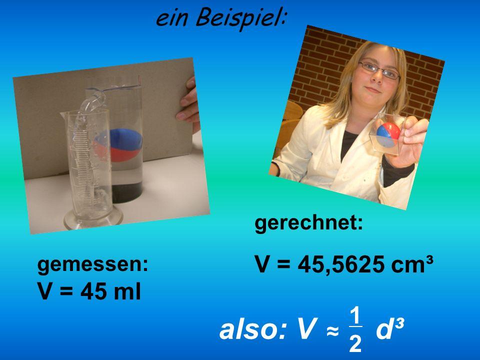 gerechnet: V = 45,5625 cm³ ein Beispiel: gemessen: V = 45 ml also: V d³ 1212