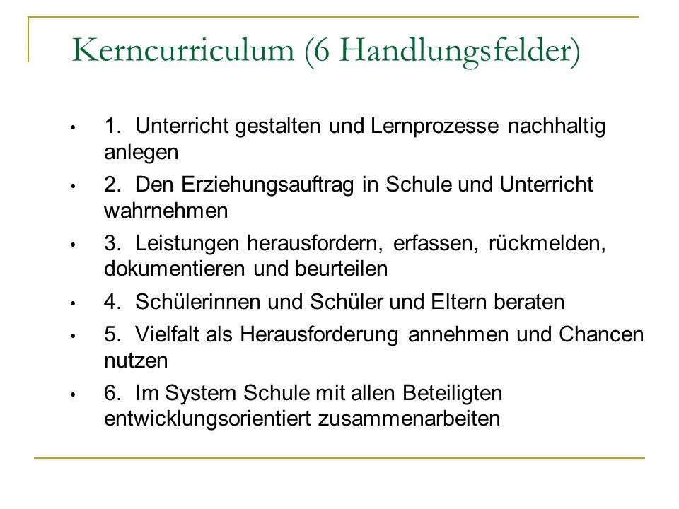 1. Unterricht gestalten und Lernprozesse nachhaltig anlegen 2. Den Erziehungsauftrag in Schule und Unterricht wahrnehmen 3. Leistungen herausfordern,
