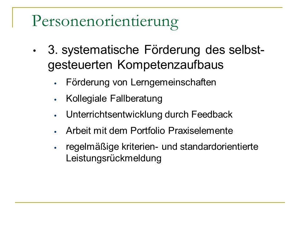 3.systematische Förderung des selbst- gesteuerten Kompetenzaufbaus Förderung von Lerngemeinschaften Kollegiale Fallberatung Unterrichtsentwicklung dur
