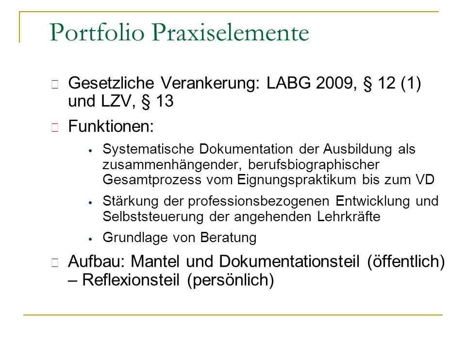Gesetzliche Verankerung: LABG 2009, § 12 (1) und LZV, § 13 Funktionen: Systematische Dokumentation der Ausbildung als zusammenhängender, berufsbiograp