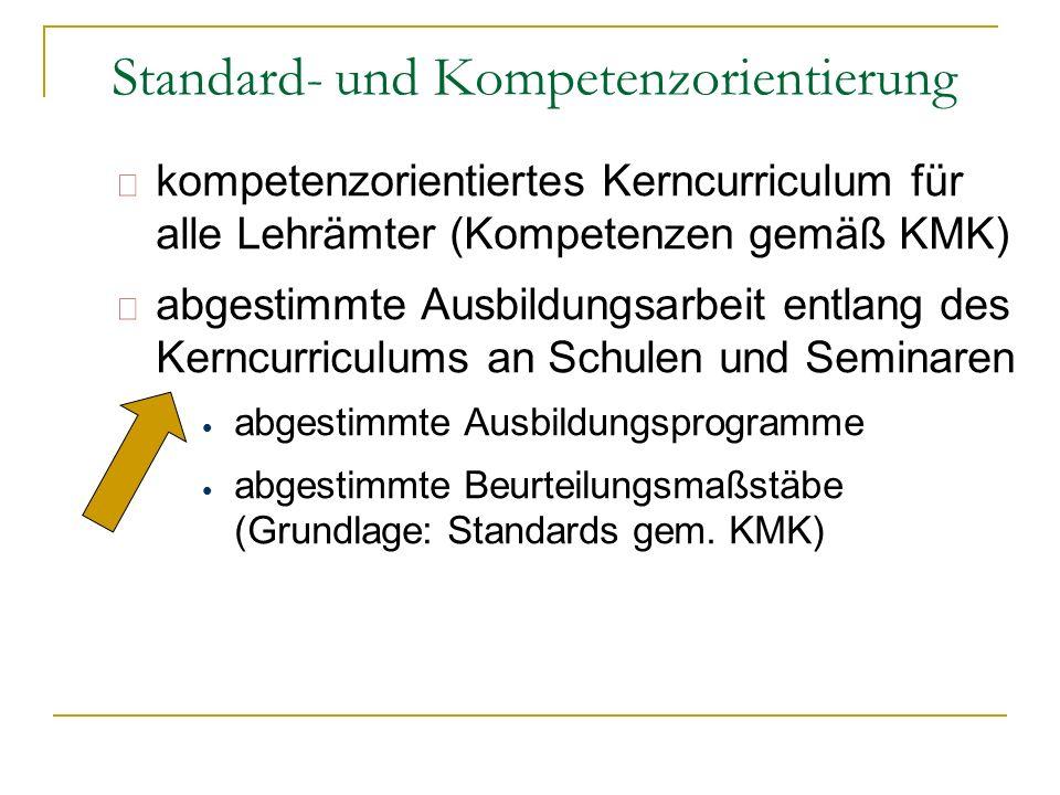 kompetenzorientiertes Kerncurriculum für alle Lehrämter (Kompetenzen gemäß KMK) abgestimmte Ausbildungsarbeit entlang des Kerncurriculums an Schulen u
