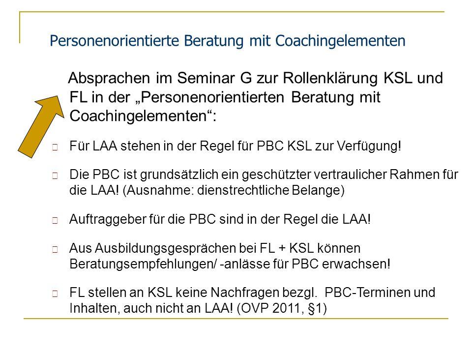 Personenorientierte Beratung mit Coachingelementen Absprachen im Seminar G zur Rollenklärung KSL und FL in der Personenorientierten Beratung mit Coach