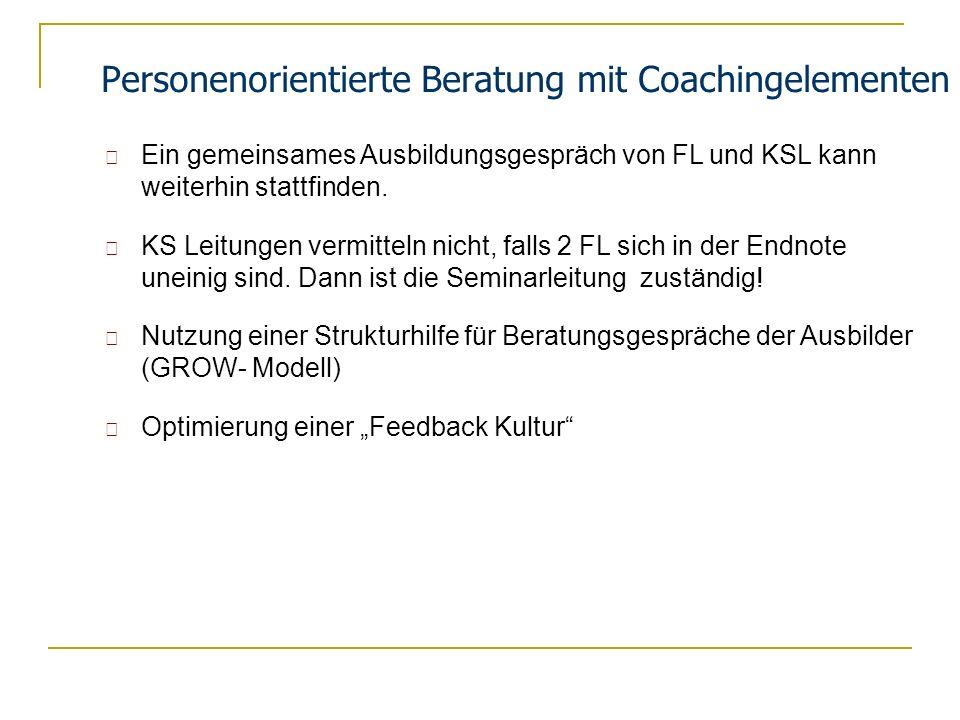 Personenorientierte Beratung mit Coachingelementen Ein gemeinsames Ausbildungsgespräch von FL und KSL kann weiterhin stattfinden. KS Leitungen vermitt