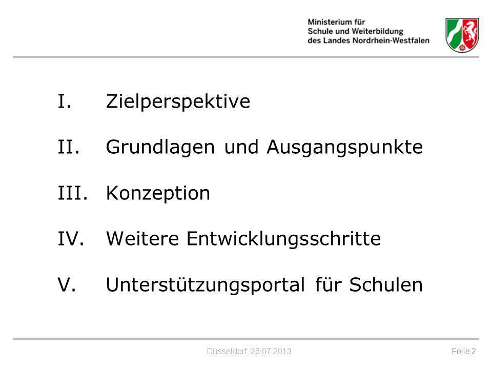 Düsseldorf, 26.07.2013 I.Zielperspektive II. Grundlagen und Ausgangspunkte III.Konzeption IV. Weitere Entwicklungsschritte V.Unterstützungsportal für