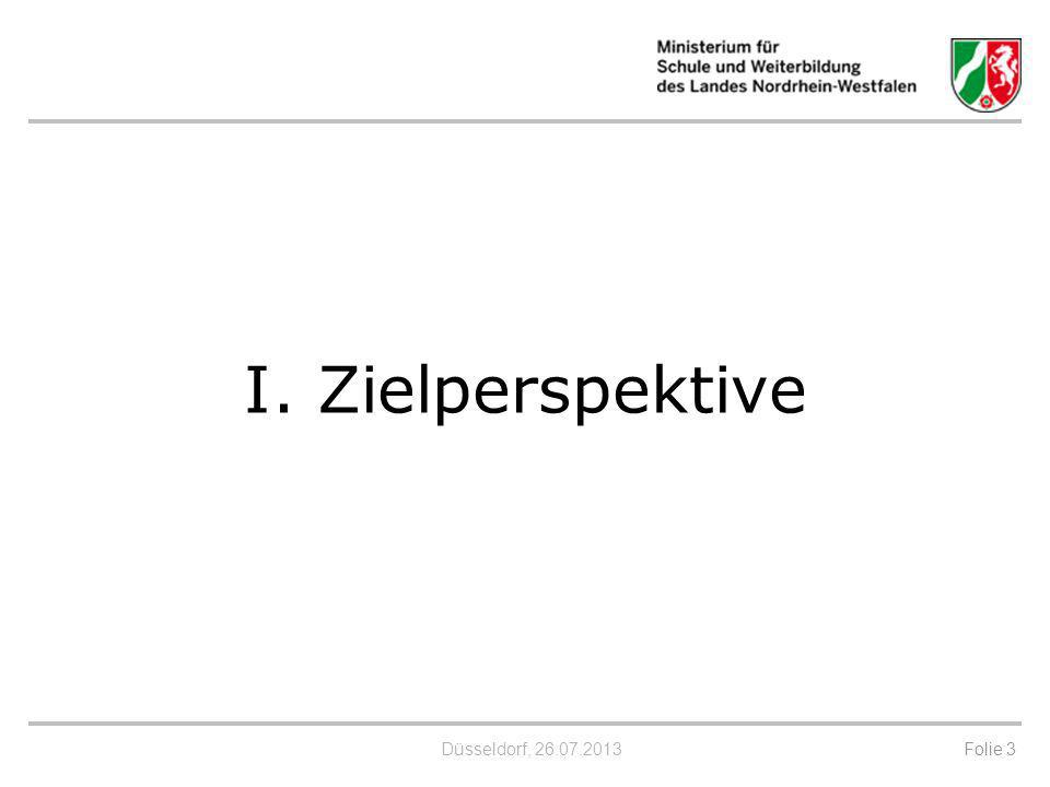 Düsseldorf, 26.07.2013 Ziele eines Referenzrahmens Schulqualität Zielsetzung ist es, bereits vorhandene Qualitätsaspekte zusammenzuführen und so für - Schule, - Bildungsadministration und -Öffentlichkeit Zielklarheit und damit Orientierung und Transparenz zu schaffen.