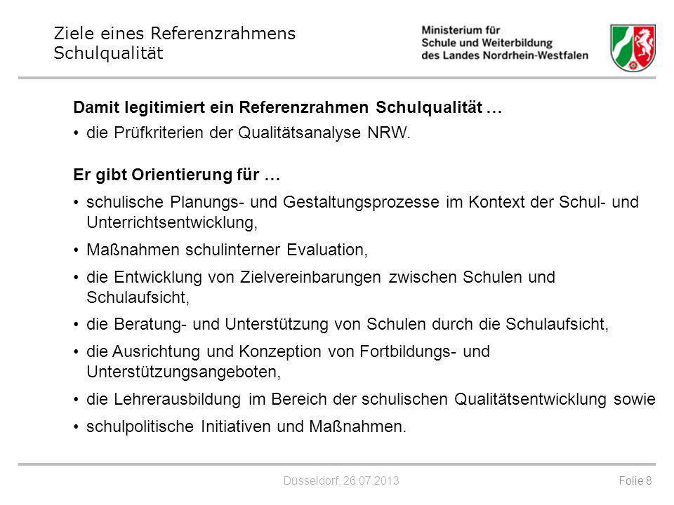 Düsseldorf, 26.07.2013 Er gibt Orientierung für … schulische Planungs- und Gestaltungsprozesse im Kontext der Schul- und Unterrichtsentwicklung, Maßna