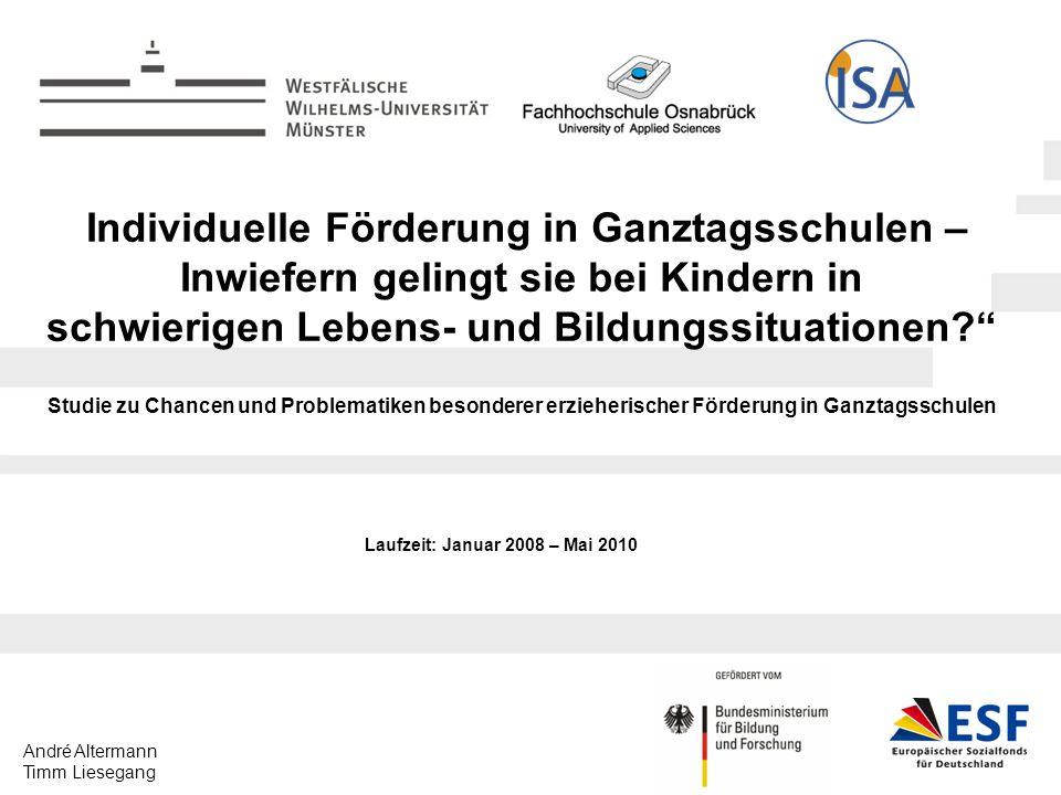 André Altermann Timm Liesegang Individuelle Förderung in Ganztagsschulen – Inwiefern gelingt sie bei Kindern in schwierigen Lebens- und Bildungssituationen.