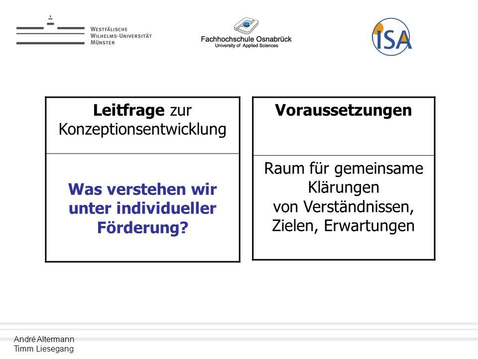 André Altermann Timm Liesegang Leitfrage zur Konzeptionsentwicklung Was verstehen wir unter individueller Förderung.