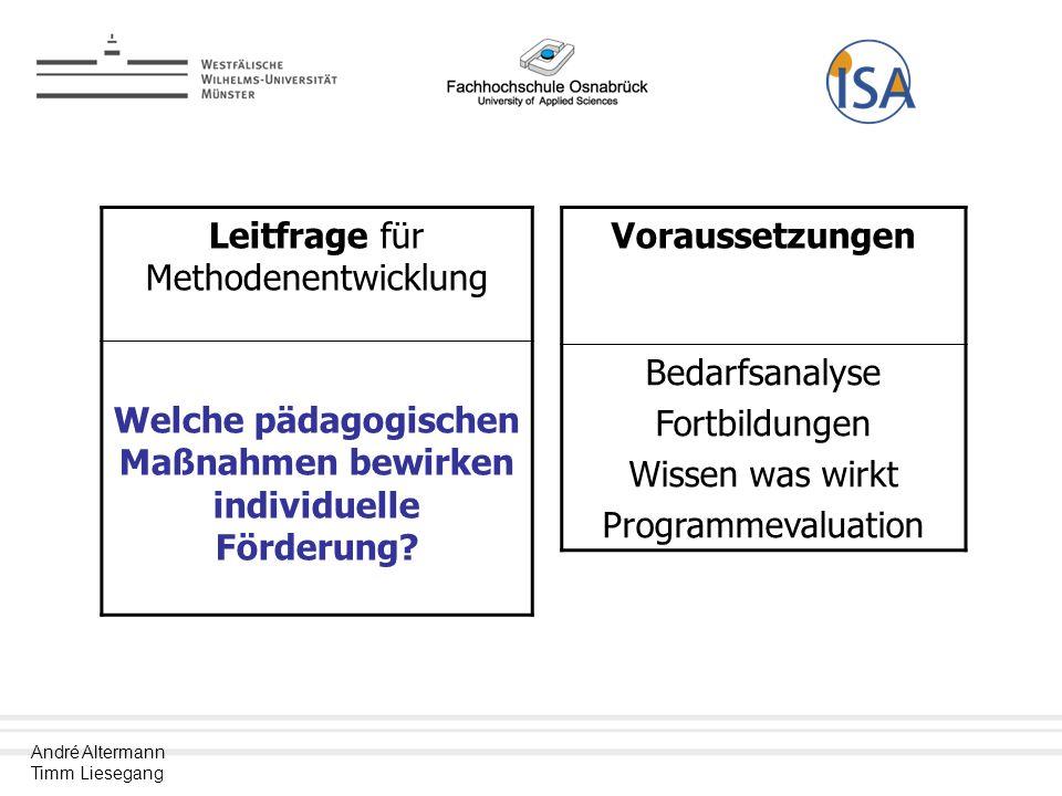 André Altermann Timm Liesegang Leitfrage für Methodenentwicklung Welche pädagogischen Maßnahmen bewirken individuelle Förderung.