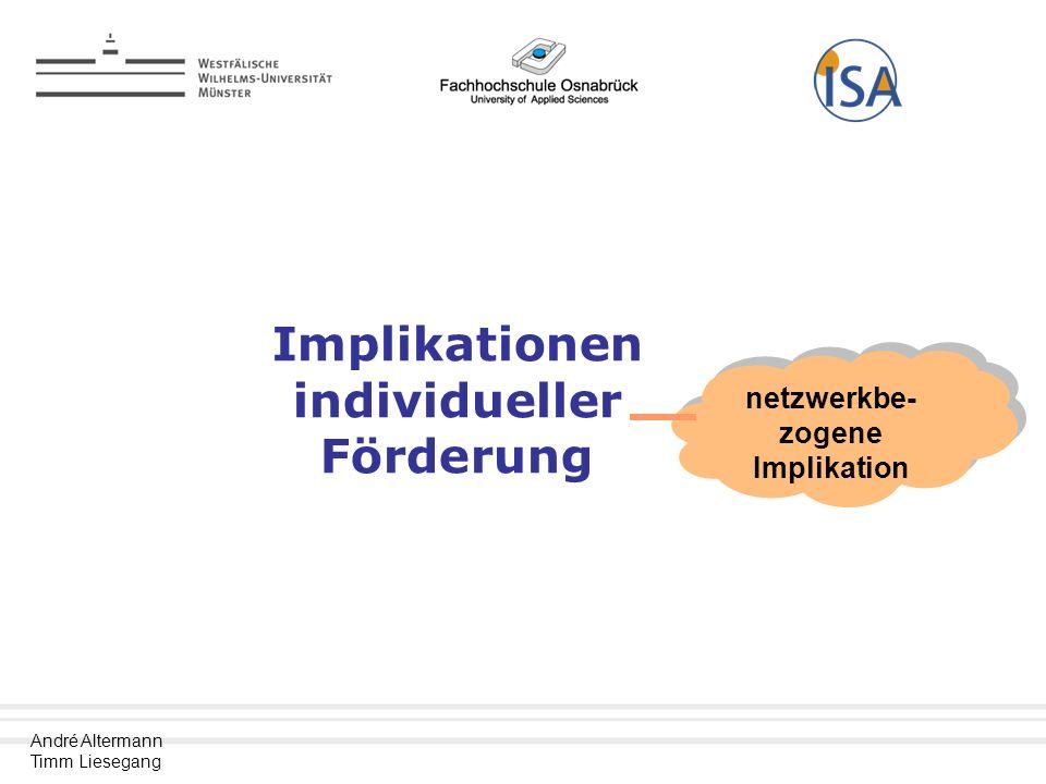 André Altermann Timm Liesegang Implikationen individueller Förderung netzwerkbe- zogene Implikation