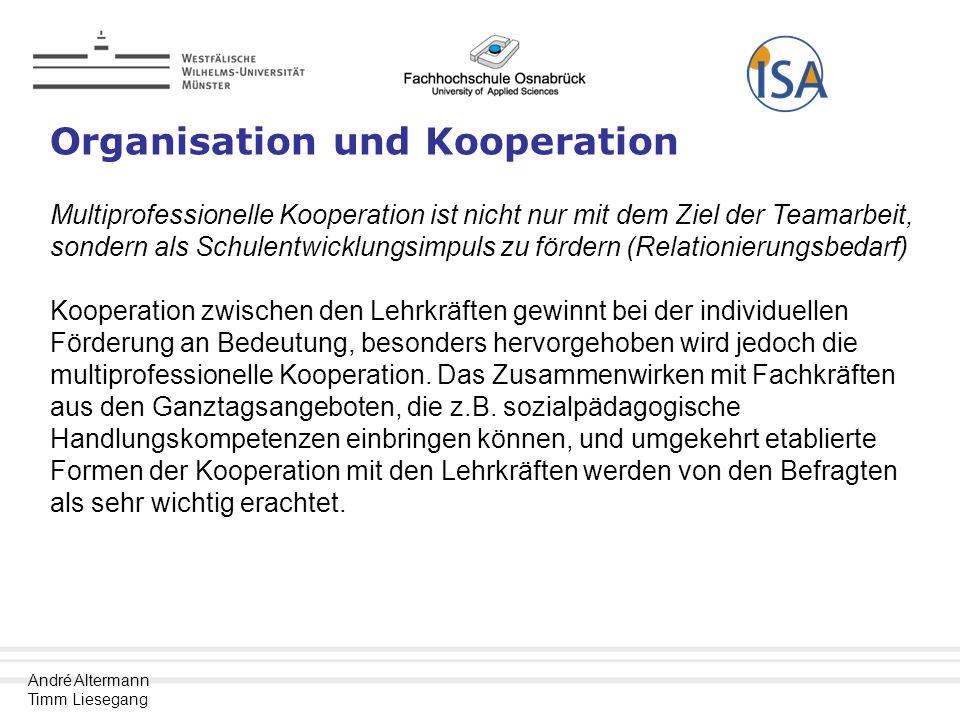 André Altermann Timm Liesegang Organisation und Kooperation Multiprofessionelle Kooperation ist nicht nur mit dem Ziel der Teamarbeit, sondern als Schulentwicklungsimpuls zu fördern (Relationierungsbedarf) Kooperation zwischen den Lehrkräften gewinnt bei der individuellen Förderung an Bedeutung, besonders hervorgehoben wird jedoch die multiprofessionelle Kooperation.