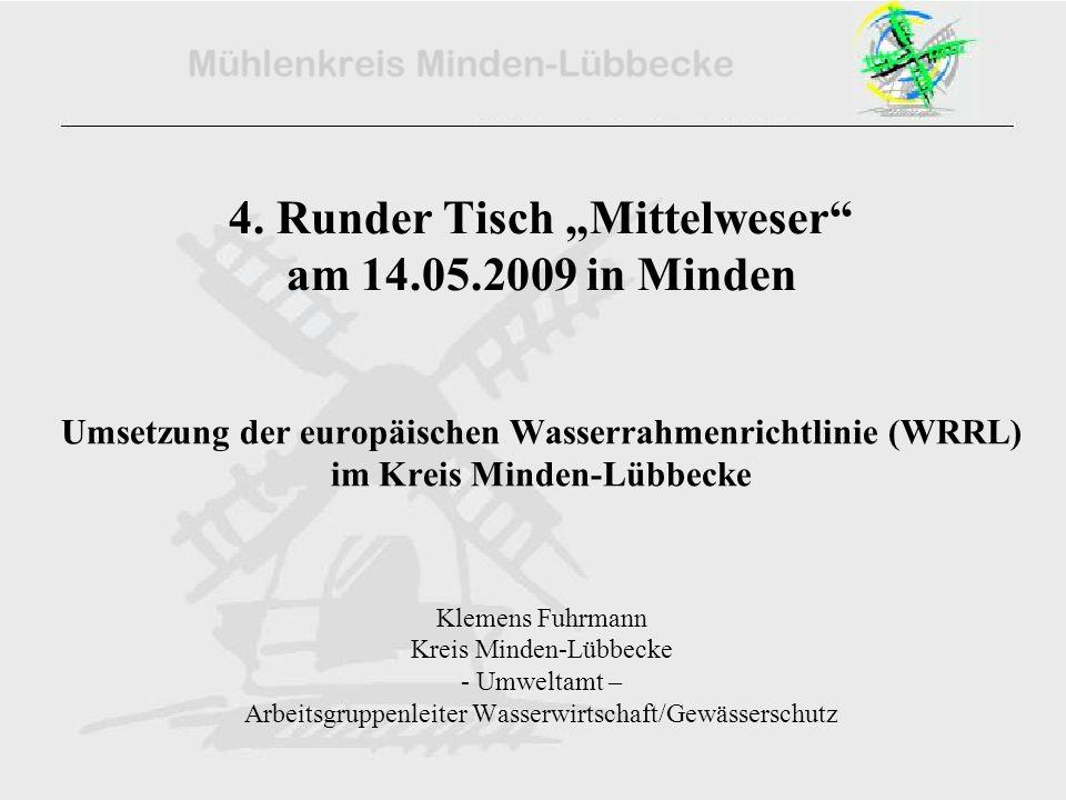 4. Runder Tisch Mittelweser am 14.05.2009 in Minden Umsetzung der europäischen Wasserrahmenrichtlinie (WRRL) im Kreis Minden-Lübbecke Klemens Fuhrmann