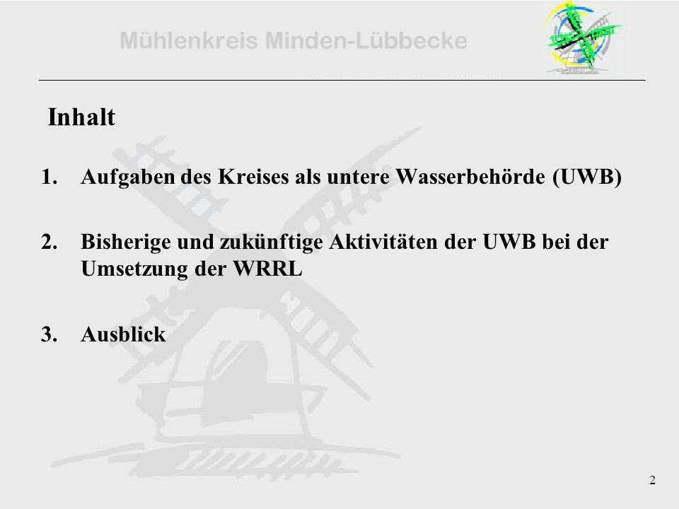 2 Inhalt 1.Aufgaben des Kreises als untere Wasserbehörde (UWB) 2.Bisherige und zukünftige Aktivitäten der UWB bei der Umsetzung der WRRL 3.Ausblick